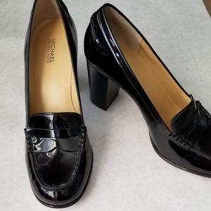 Michael Kors black patent leather stack heels 8.5M